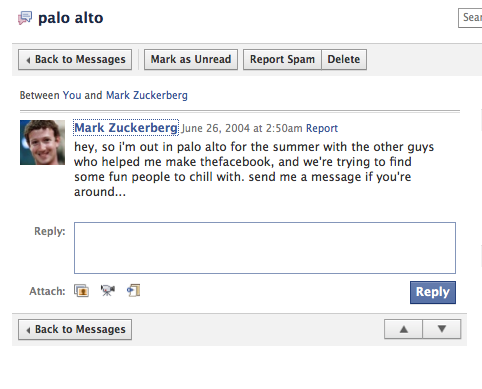 mark zuckerberg messages me on facebook